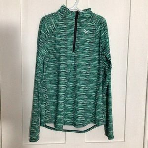 Girls Quarter Zip Athletic Teal Sweater - Justice